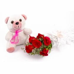 Six Red Roses and Teddy Bear Combo