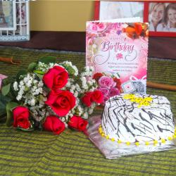 Six Red Roses and Vanilla Cake with Birthday Card