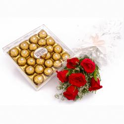 Six Red Roses Bunch and 24 Pcs Ferrero Rocher Chocolate Box
