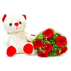 Six Red Roses Bunch with Teddy Bear