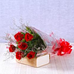 Six Romantic Red Roses Bouquet