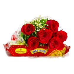 Six Romantic Red Roses with Soan Papdi