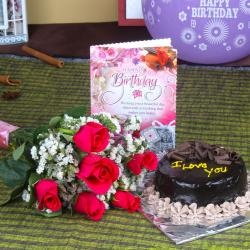 Six Roses Bunch and Chocolate Cake with Birthday Greeting Card