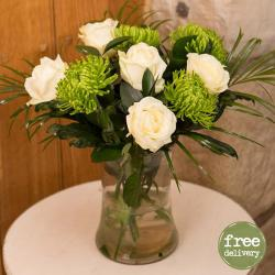 Six White Roses In classic Vase