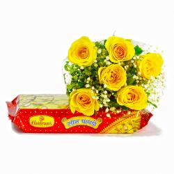 Six Yellow Roses Bouquet with 500 Gms Soan Papdi