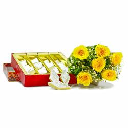 Six Yellow Roses Bouquet with Kaju Katli