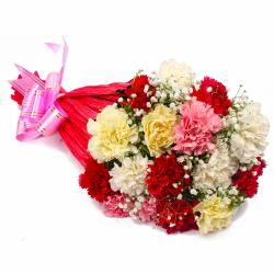 Sixteen Multi Color Carnations Tissue Wrapped
