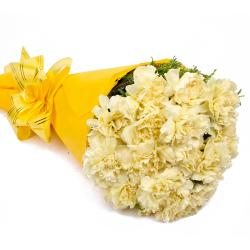 Sixteen Yellow Carnations Tissue Wrapped