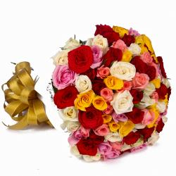 Sixty Multi Color Roses Round Bunch