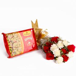Soan Papadi Box with Bouquet of Roses and Carnations Combo