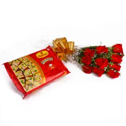 Soan Papadi Box with Lovely Ten Red Roses Bunch