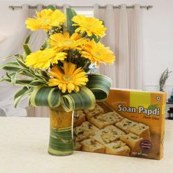 Soan Papdi Sweet with Yellow Gerberas