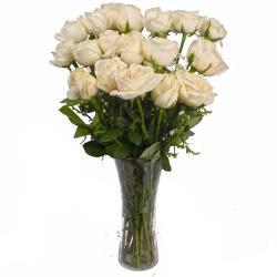 Sober Look Vase of White Roses