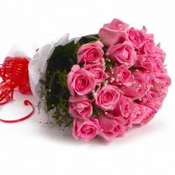 Soft Pink Roses in Tissue Wrapped