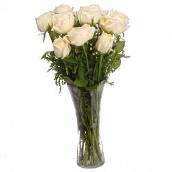 Soft Touch of White Roses Vase