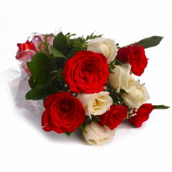 Special Bouquet of Ten Red and White Roses