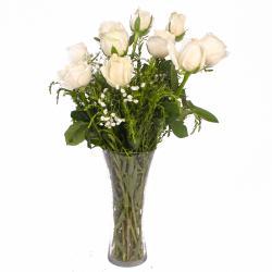 Specious Ten White Roses Vase