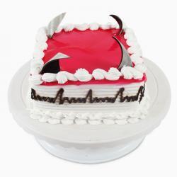 Square Fresh Cream Strawberry Cake