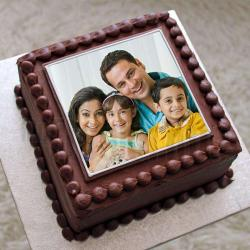 Square Shape Chocolate Personalised Photo Cake for My Family