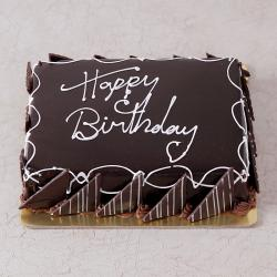 Square Shape Dark Chocolate Happy Birthday Cake