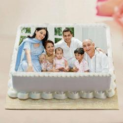 Square Shape Personalized Eggless Vanilla Photo Cake for My Family