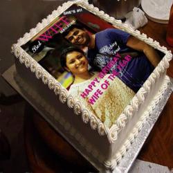 Square Vanilla Photo Cake
