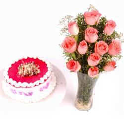 Strawberry Cake and Glass Vase of Dozen Pink Roses