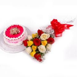 Strawberry Cake and Multi Color Roses Bouquet Combo