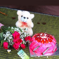 Strawberry Cake and Teddy Bear with Fresh Roses For Mom