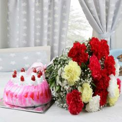 Strawberry Cake with Colorful Carnations Bouquet