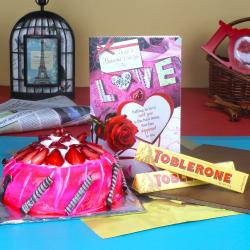 Strawberry Cake with Toblerone Chocolate and Love Card