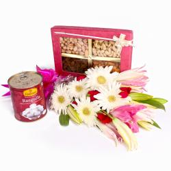 Stylish Bouquet of Mix Flowers with Rasgulla and Assorted Dry Fruits
