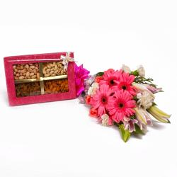 Stylish Flowers Bouquet with Box of Assorted Dryfruits
