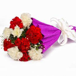 Stylish Red and White Carnations Bouquet