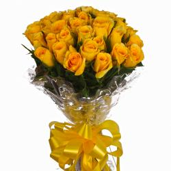 Sunny 25 Yellow Roses Bunch