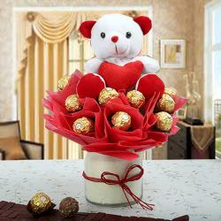 Surprise Gift of Chocolates with Teddy