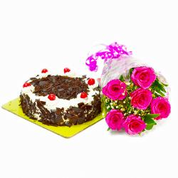 Sweet 6 Pink Roses with Half Kg Black Forest Cake