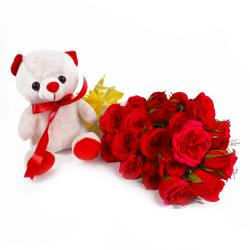 Teddy and Red Roses with Cellophane Wrapping