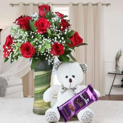 Teddy Bear and Chocolate with Vase of Red Roses