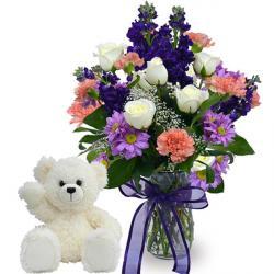 Teddy Bear and Floral Vase