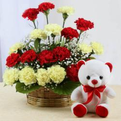 Teddy Bear with Basket Arrangement of Mix Carnations