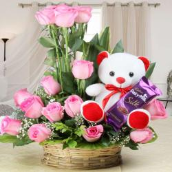 Teddy Bear with Basket of Pink Roses and Cadbury Dairy Milk Silk Chocolates