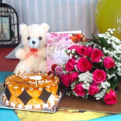 Teddy Bear with Birthday wishes Cake and Roses