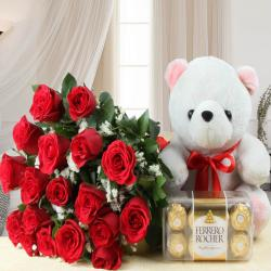 Teddy Bear with Ferrero Rocher Chocolate and Red Roses Bouquet