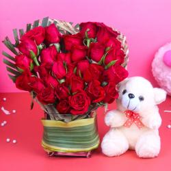 Teddy Bear with Heart Shape Red Roses Arrangement