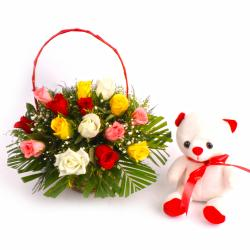 Teddy Bear with Lovely Mix Roses Basket