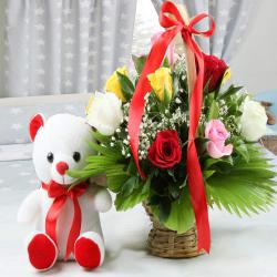 Teddy Bear with Mix Roses Arrangement