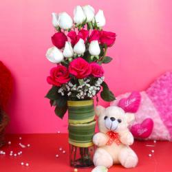 Teddy Bear with Pink and White Roses Arrangement