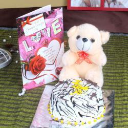 Teddy Bear with Vanilla Cake and Love Card
