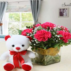 Teddy Bear with Vase of Pink Carnations